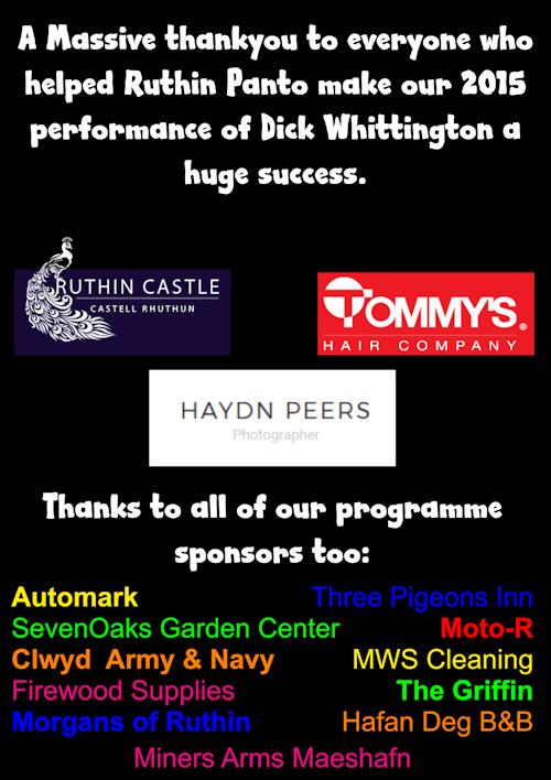 2015 Pantomime - Thanks to you all